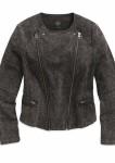Women's Black Denim Look Knit Biker Jacket