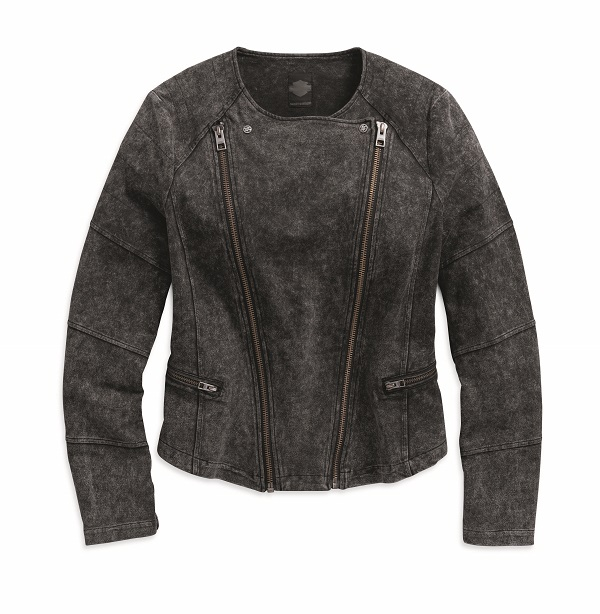 Women's Black Denim Look Knit Biker Jacket
