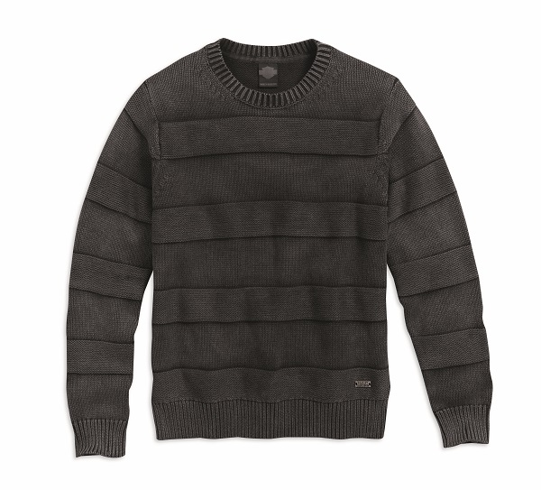Men's Black Textured Stripe Sweater