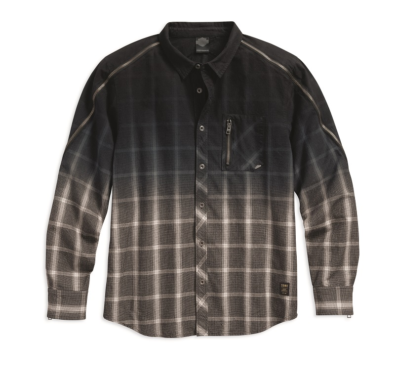 Men's Plaid Zipper Accent Plaid Shirt