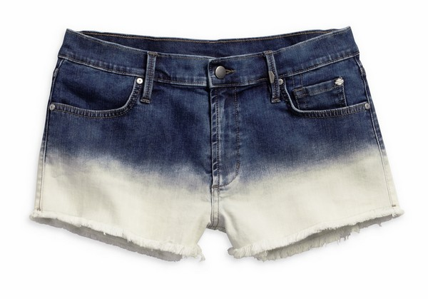 Women's Ombre Blue Indigo Dip-Dye Cut Off Shorts