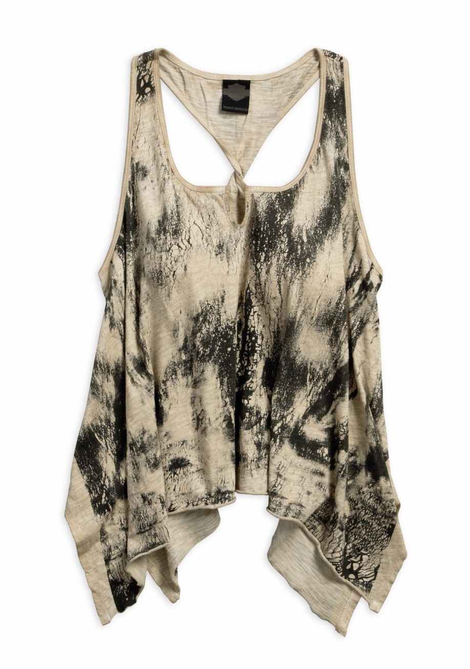 Women's Chinchilla Crackle Print Slub Tank