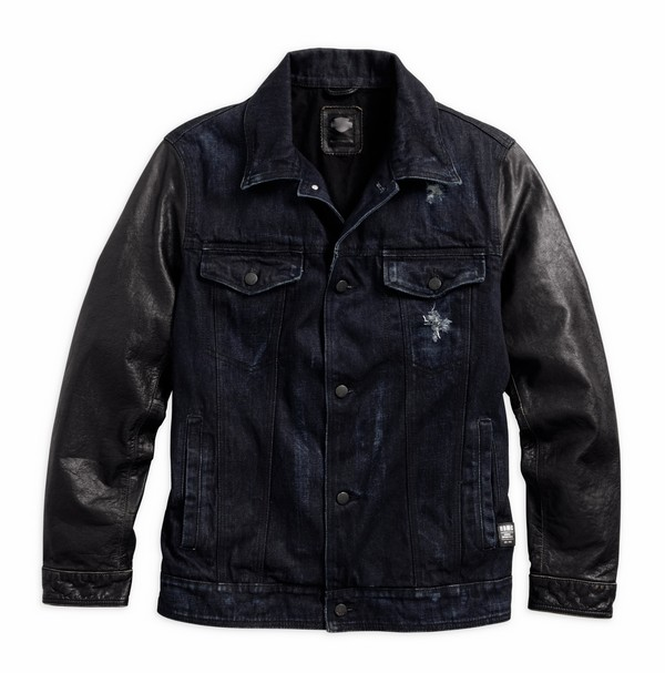 Men's Denim Leather Sleeve Denim Jacket